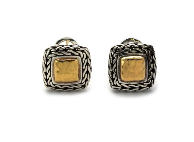 Item - 22990 Classic Sterling 22k Gold Hammered Weave Square Post Clip Earrings