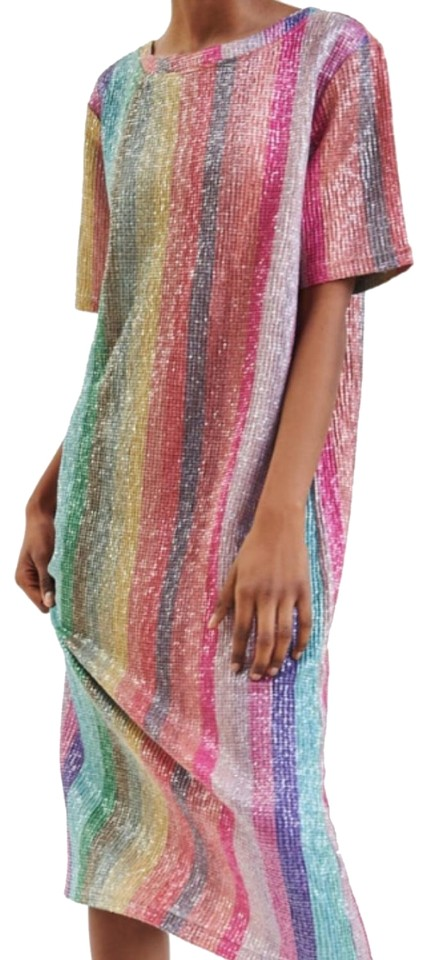 9e25d397 Zara Multicolor Sequined Long Night Out Dress Size 6 (S) - Tradesy