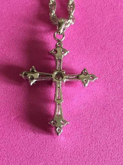 pendant 14k White Gold DIAMOND Cross Image 3