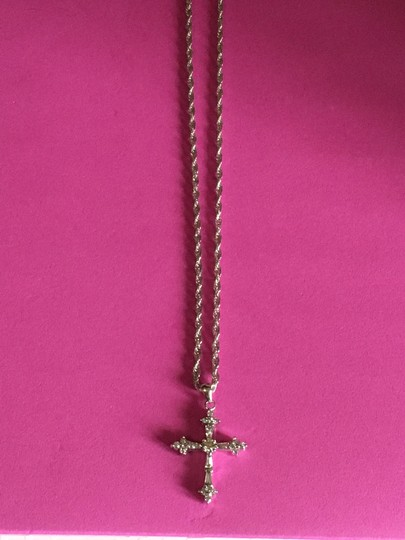pendant 14k White Gold DIAMOND Cross Image 5