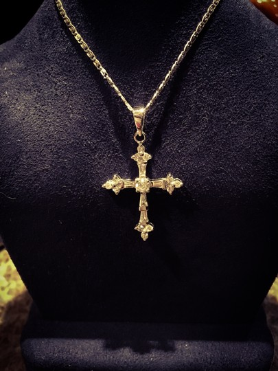 pendant 14k White Gold DIAMOND Cross Image 7