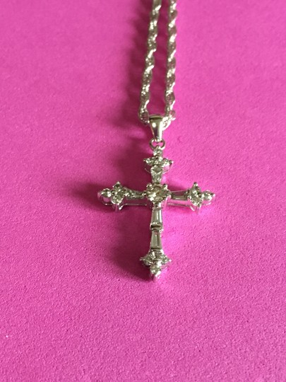 pendant 14k White Gold DIAMOND Cross Image 9