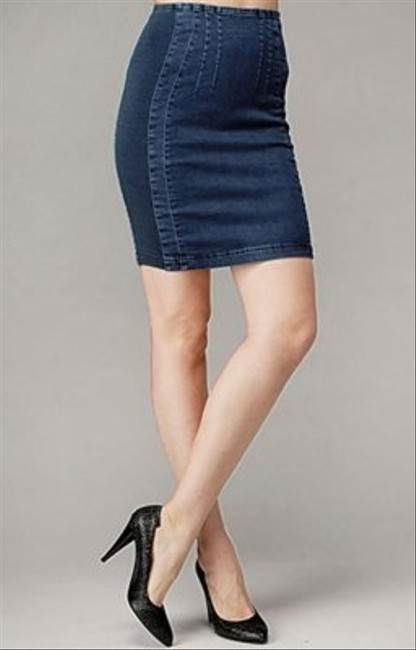 7 For All Mankind Gummy Denim Pencil Mini Skirt Blue