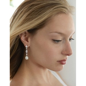 Bridal Shoppe Pearl/Cz Vintage Dangle with Freshwater Drop Earrings