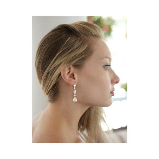 Bridal Shoppe Pearl/Cz Vintage Dangle with Freshwater Drop Earrings Image 2