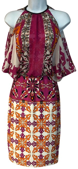Item - Multicolor XS Printed Stretch Poly Short Casual Dress Size 2 (XS)