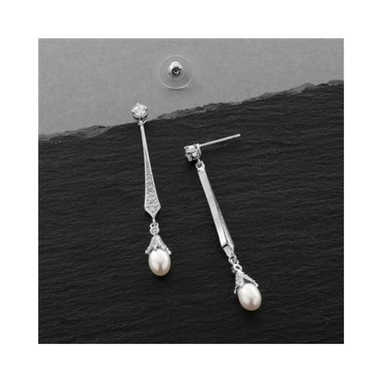 Bridal Shoppe Silver/Pearl/Rhodium Art Deco Pave Cz with Drop Earrings Image 1
