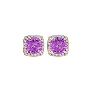 Marco B February Birthstone Amethyst and CZ Square Halo Studs