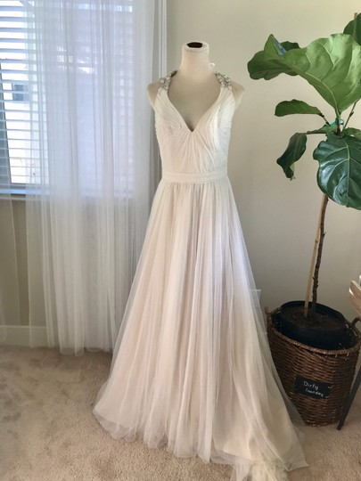 Bliss by Monique Lhuillier Tulle Beaded Formal Wedding Dress Size 10 (M) Image 3