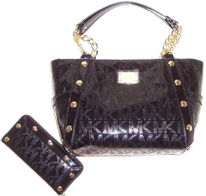 Michael Kors Mk Logo Delancy Mk And Wallet Mk Delancy Wallet Tote in Black Monogram Mirror Metallic /Gold Hardware