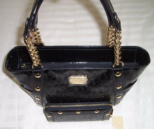 Michael Kors Mk Logo Delancy Mk And Wallet Mk Delancy Wallet Tote in Black Monogram Mirror Metallic /Gold Hardware Image 3