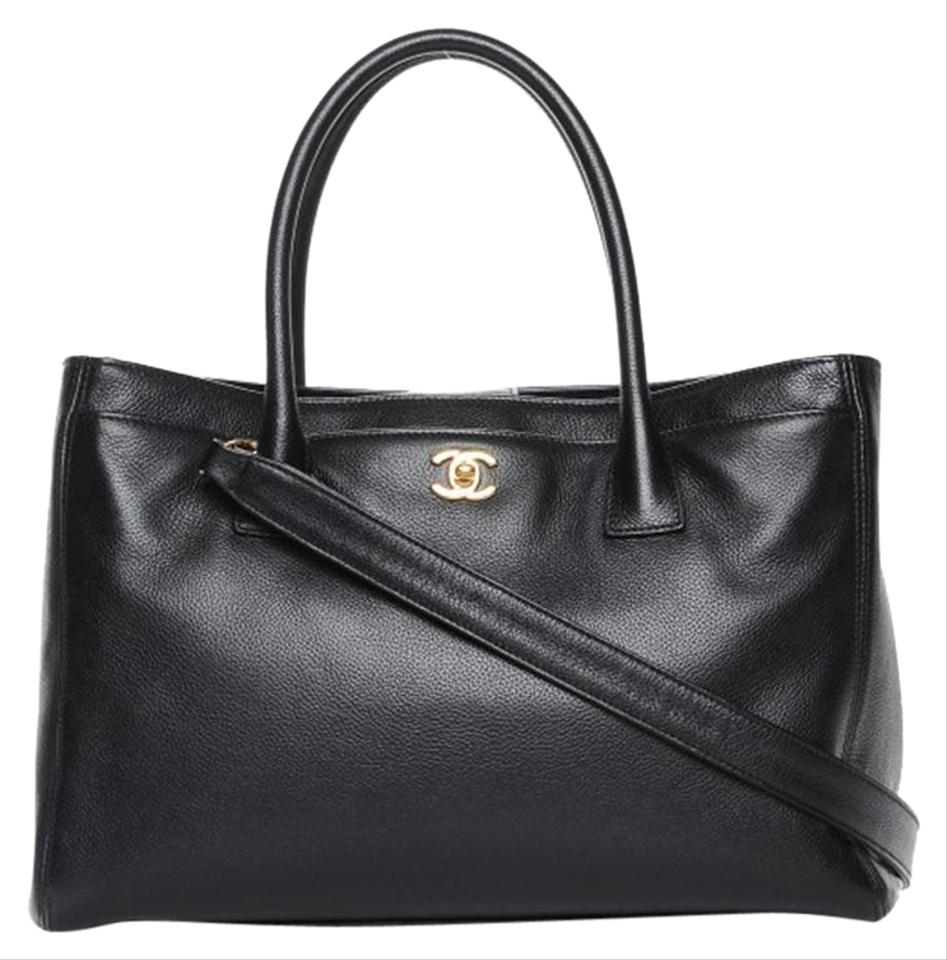 dd4c9ae16a1d Chanel Shopping Cerf Executive Shopper Black Calfskin Leather Tote ...