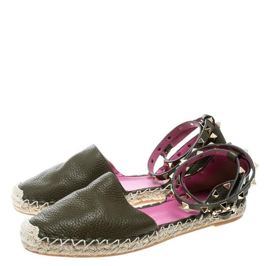 Valentino Leather Suede Green Flats Image 3