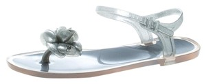 Chanel Glitter Jelly Rubber Silver Sandals