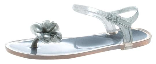 Chanel Glitter Jelly Rubber Silver Sandals Image 0