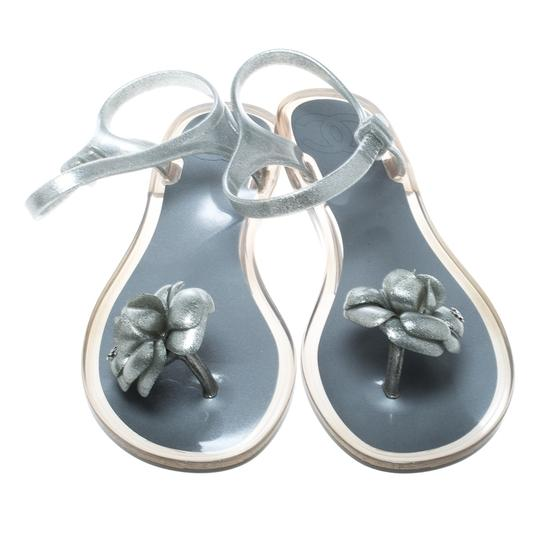 Chanel Glitter Jelly Rubber Silver Sandals Image 1