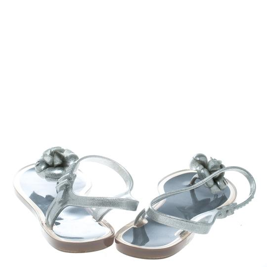 Chanel Glitter Jelly Rubber Silver Sandals Image 2