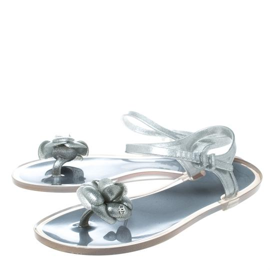 Chanel Glitter Jelly Rubber Silver Sandals Image 3