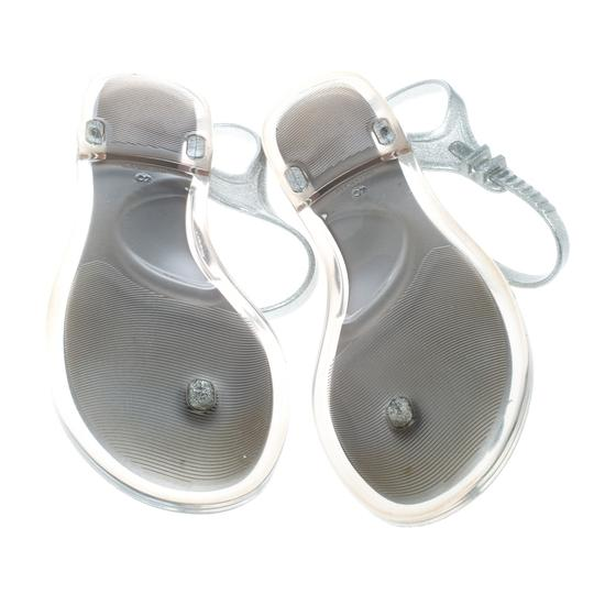 Chanel Glitter Jelly Rubber Silver Sandals Image 5