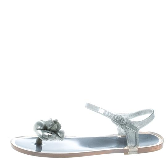Chanel Glitter Jelly Rubber Silver Sandals Image 6