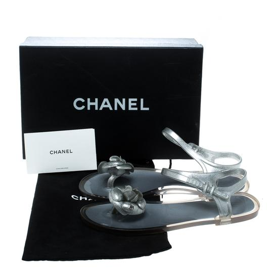 Chanel Glitter Jelly Rubber Silver Sandals Image 7