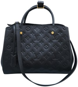 Louis Vuitton Lv Montaigne Empreinte Calfskin Satchel in black