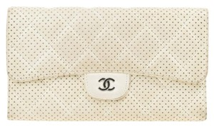 Chanel White Perforated Leather Continental Wallet