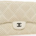 Chanel White Perforated Leather Continental Wallet Image 4