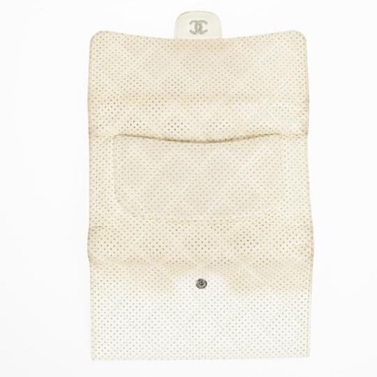 Chanel White Perforated Leather Continental Wallet Image 6
