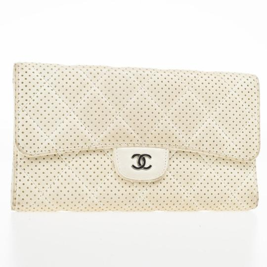 Chanel White Perforated Leather Continental Wallet Image 8