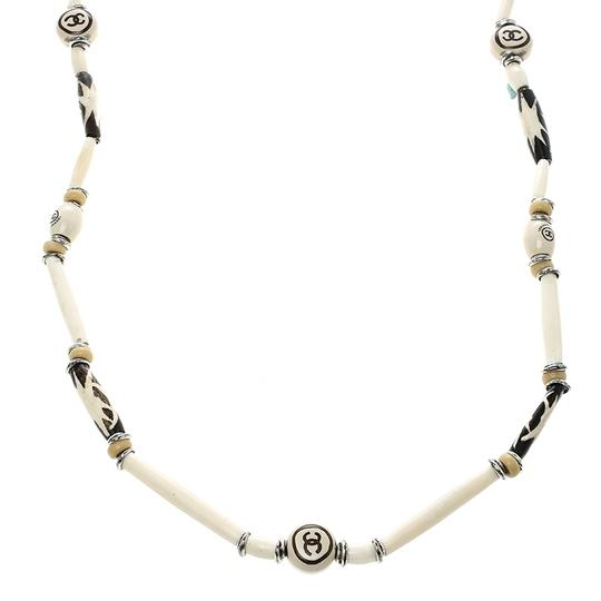 Chanel CC Cream Beaded Silver Tone Long Necklace Image 1
