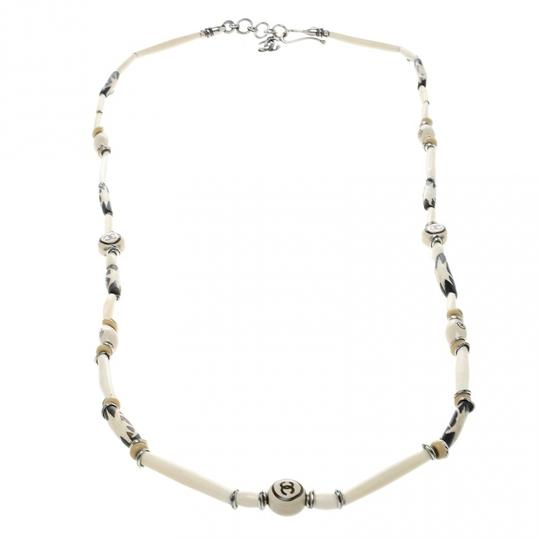 Chanel CC Cream Beaded Silver Tone Long Necklace Image 2