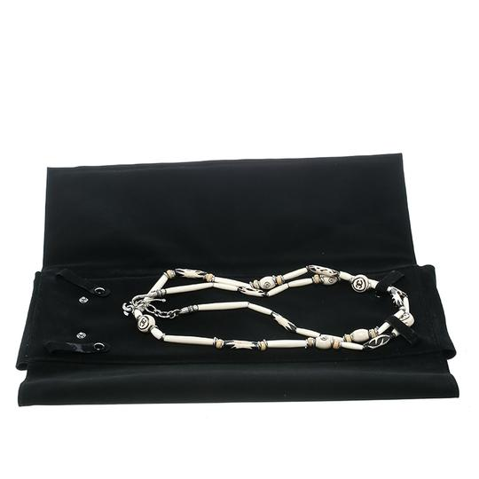 Chanel CC Cream Beaded Silver Tone Long Necklace Image 5