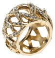 Chanel CC Criss Cross Crystal Gold Tone Band Ring Size 55 Image 0