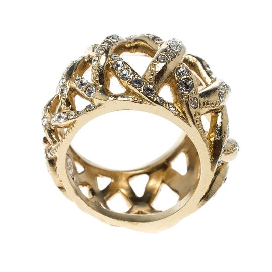 Chanel CC Criss Cross Crystal Gold Tone Band Ring Size 55 Image 1