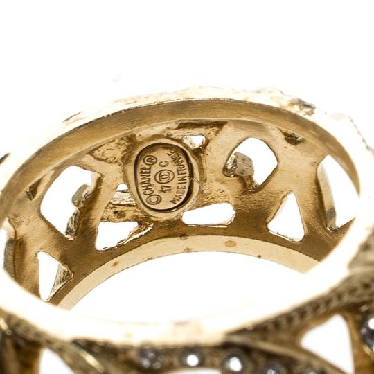 Chanel CC Criss Cross Crystal Gold Tone Band Ring Size 55 Image 2