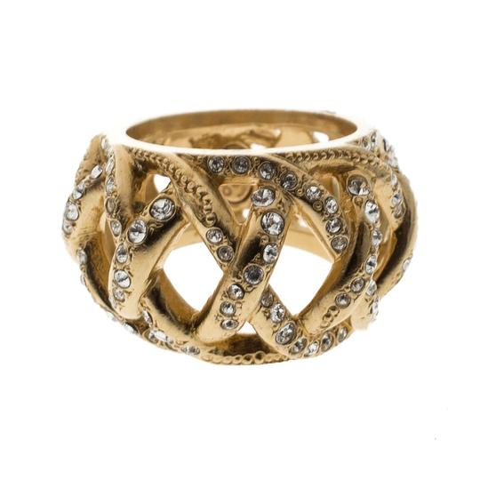Chanel CC Criss Cross Crystal Gold Tone Band Ring Size 55 Image 3