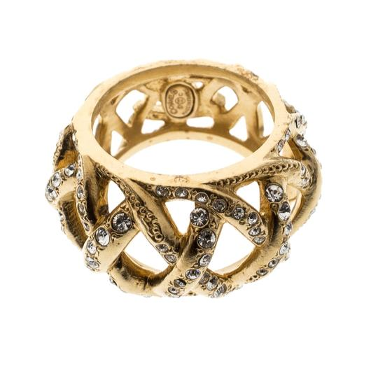 Chanel CC Criss Cross Crystal Gold Tone Band Ring Size 55 Image 4