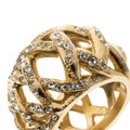 Chanel CC Criss Cross Crystal Gold Tone Band Ring Size 55 Image 5