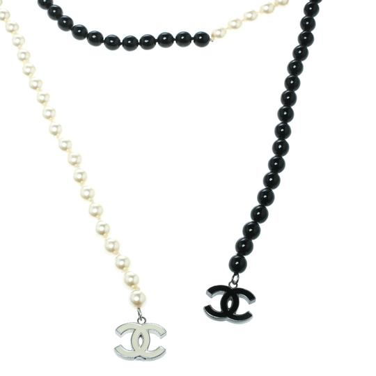 Chanel Faux Pearl & Black Beads String Wrap Around Necklace Image 1