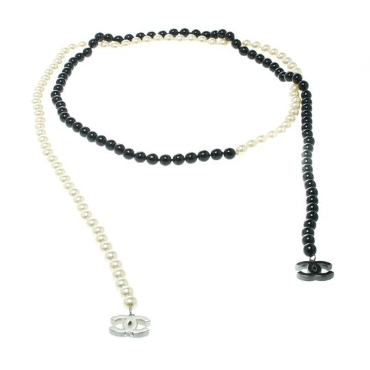 Chanel Faux Pearl & Black Beads String Wrap Around Necklace Image 2