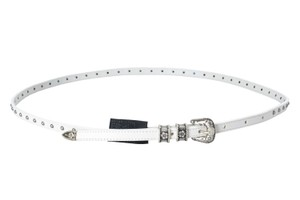 Just Cavalli Just Cavalli 100% Leather White Embellished Women's Belt US 25 IT 90