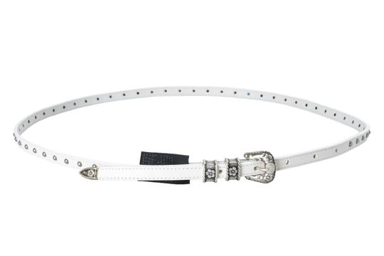 Just Cavalli Just Cavalli 100% Leather White Embellished Women's Belt US 25 IT 90 Image 0