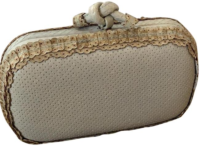 Item - Limited Edition Knot Gray/Light Blue Ayers Snakeskin Leather Clutch