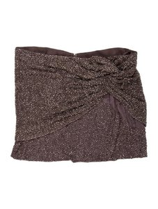 4239ffc0c3977 Haute Hippie Embellished Beaded Mini Knotted Mini Skirt Taupe   Grey
