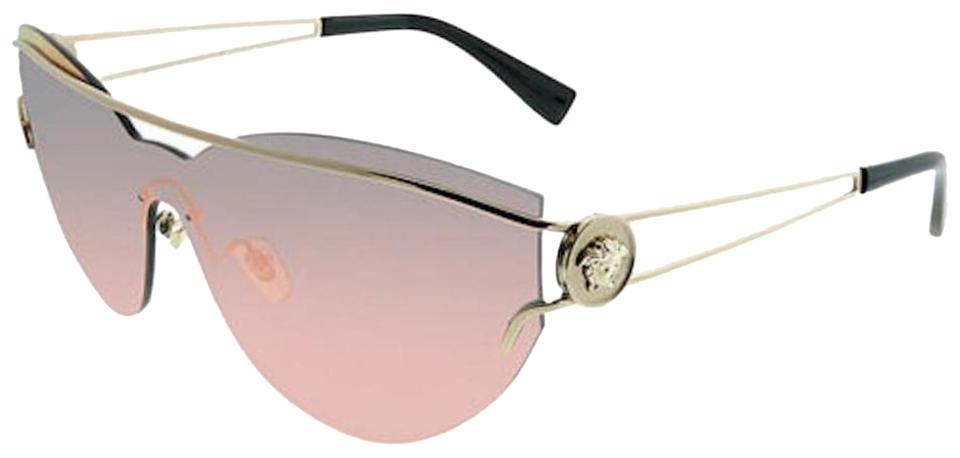 7a9c922cdc506 Versace Gold New with Tag Gold Mirrored Women s Ve2186 Ve 2186 Fashion Cat  Eye Sunglasses