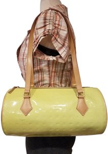 Arcadia Purse Patent Leather Bucket Satchel in LIME