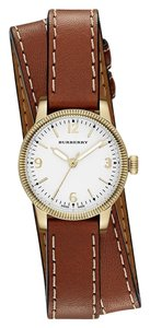 Burberry The Utilitarian Leather Gold Stainless Steel Wrap Bu7850 Watch