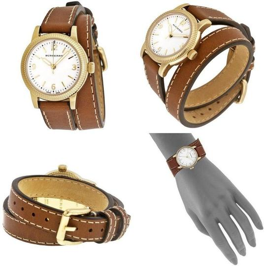 Burberry The Utilitarian Leather Gold Stainless Steel Wrap Bu7850 Watch Image 2
