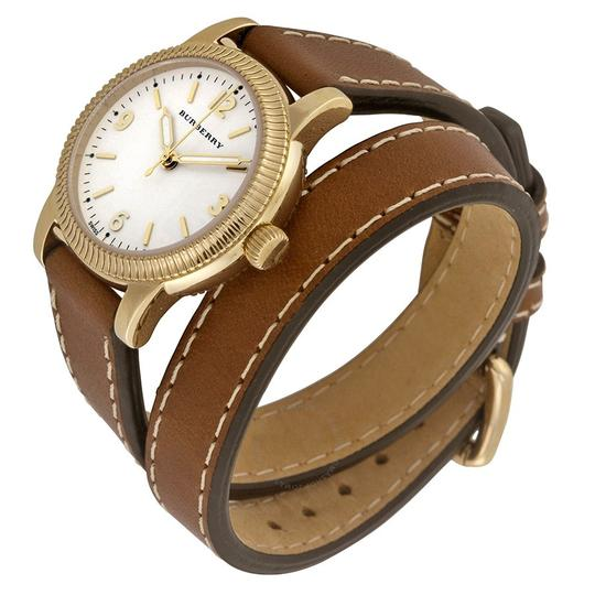 Burberry The Utilitarian Leather Gold Stainless Steel Wrap Bu7850 Watch Image 3